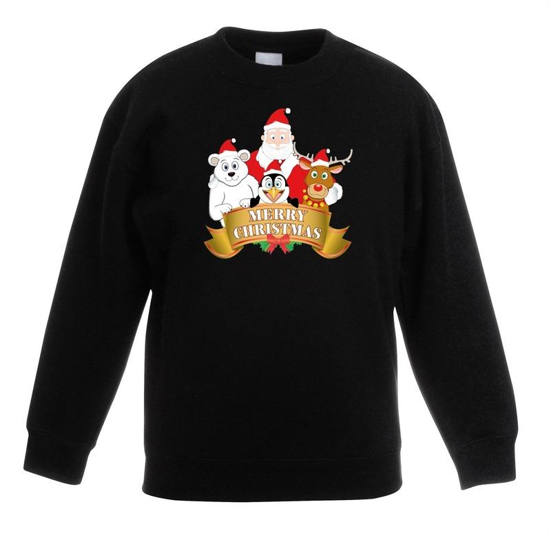 Kersttrui Kerstman.Kersttrui Met De Kerstman En Zijn Vriendjes Zwart Kinderen In Kerst